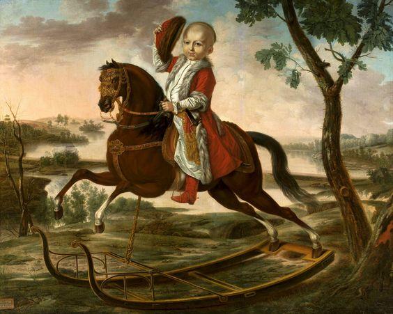 Portrait of Stanisław Potocki (1782-1831) on rocking horse by Lépine, 1788 (PD-art/old), Muzeum Narodowe w Warszawie (MNW):