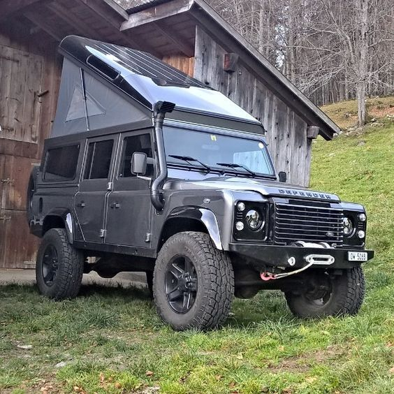 Land Rover Defender With Built In Roof Top Tent Land Rover Defender Camping Land Rover Land Rover Defender