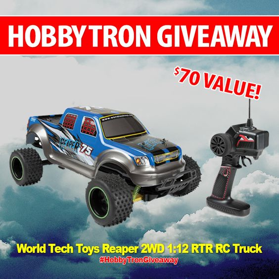 *SHARE TO WIN!* Today we're giving away our $70 VALUE World Tech Toys Reaper 2WD 1:12 RTR Electric RC Truck!  http://www.hobbytron.com/WorldTechToysReaper2WD112RTRElectricRCTruck.html  HOW TO WIN: 1. Follow HobbyTron 2. Like, Comment, & Tag 2 friends in the comments 3. REPOST with #HobbyTronGiveaway  For more chances to win, enter by following and sharing this post on Facebook, Instagram, Twitter, Google+, and Pinterest!  Good luck everyone!
