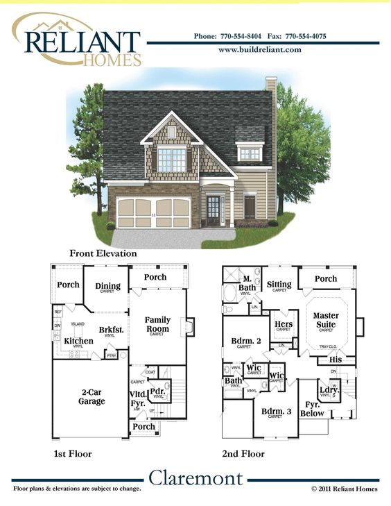 Reliant homes the claremont plan floor plans homes for Reliant homes floor plans