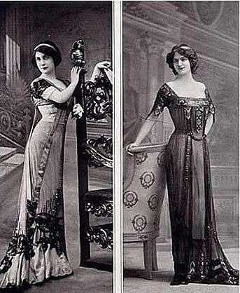 1912 - I don't have any idea how they walked in these dresses, but they sure look elegant just standing there.