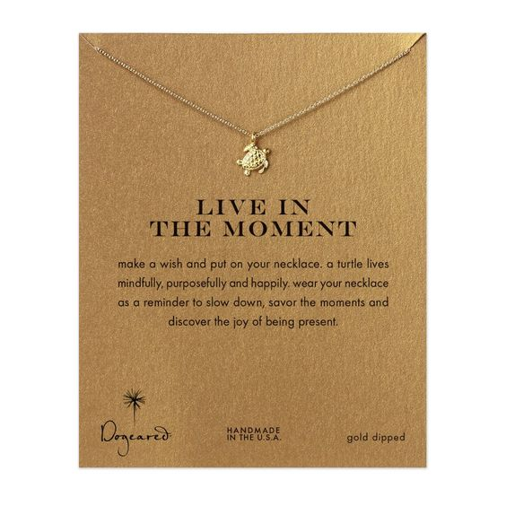 live in the moment sea turtle necklace,  gold dipped @shilaorah
