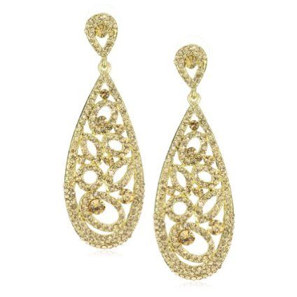 Leslie Danzis Gold-Tone and Topaz Cubic Zirconia Earring 3"