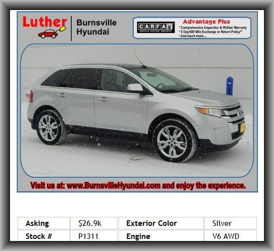 2011 Ford Edge Limited SUV   Type Of Tires: As, Coil Front Spring, External Temperature Display, Overall Width: 76.0, Leather/Metal-Look Steering Wheel Trim, Passenger And Rear, Dual Front Air Conditioning Zones, Bluetooth Wireless Phone Connectivity, Dusk Sensing Headlights, Cruise Control,