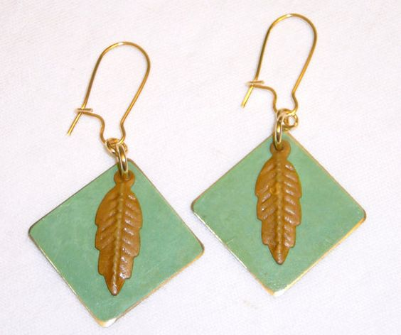 Gold Dangle Earrings with Green & Golden Tan by BlissfulVine, $17.00