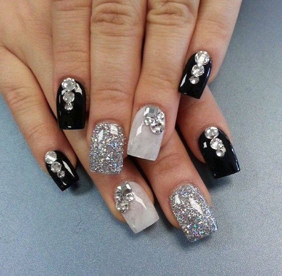 Black, silver and glitter nails