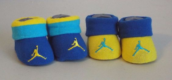 Air Jordan Infant Booties 0-6 Months Blue Yellow Embroidered Logo #Nike #Booties