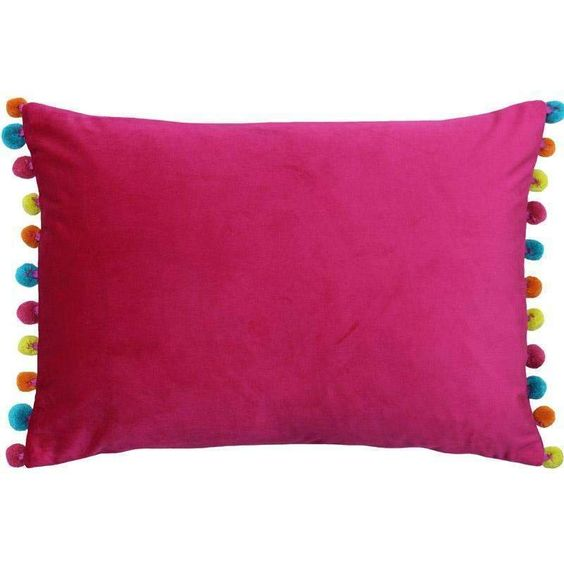 Paoletti Fiesta Rectangular Cushion With Pom Poms Hot Pink Multi