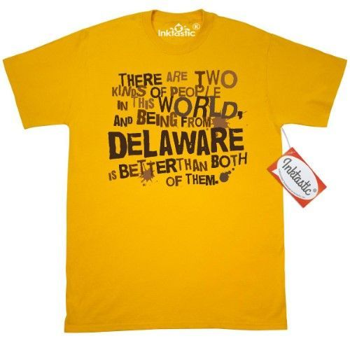 Inktastic Funny Delaware Quote Gift T-Shirt State Humor Two Kinds Of People Joke Pride Travel Mens Adult Clothing Apparel Tees T-shirts Hws, Size: Small, Gold
