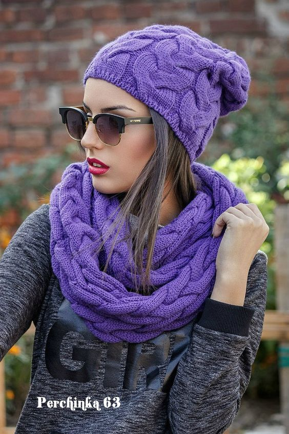 Шапка *Джейни* и шарф хомут широкими косами - Perchinka63: