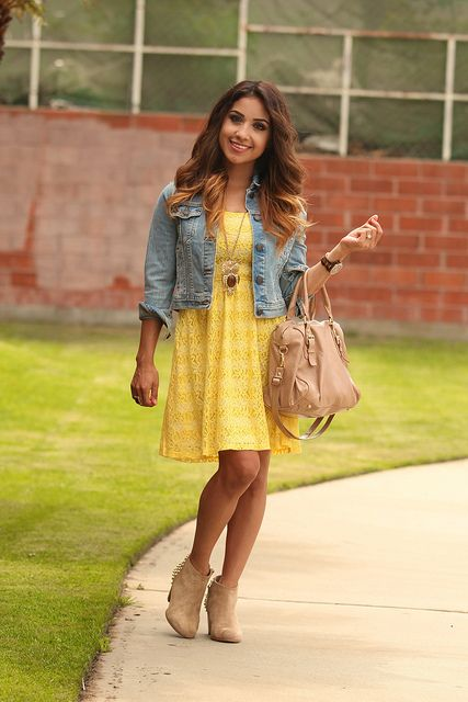 DulceCandy87 - playful dress with jean jacket