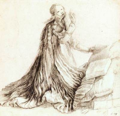 Virgin of the Annunciation Matthias Grünewald 1512-14 Black chalk and indian ink on paper, heightened with white, 207 x 210 mm Staatliche Museen, Berlin This drawing is a study for the Annunciation of the Isenheim Altarpiece.
