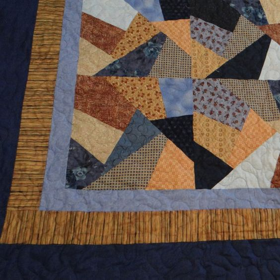 Queen size blue and tan crazy quilt by 4quiltsandmore on Etsy,