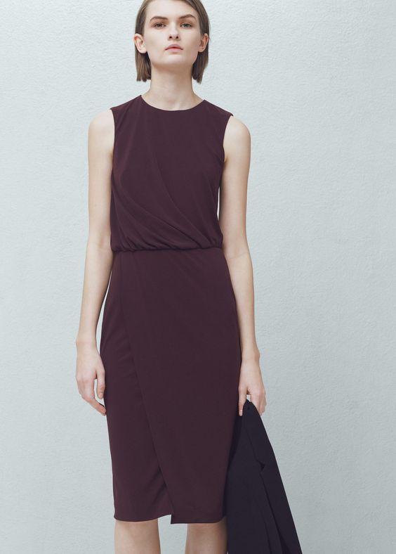 Robe détails plissés - Robes pour Femme | MANGO France