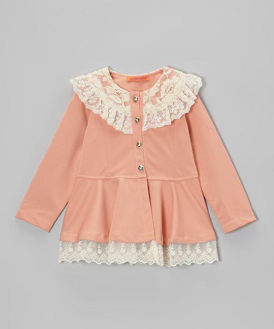 Peach Lace-Trim Peplum Jacket - Girls