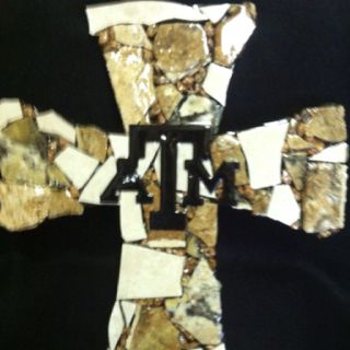 Large Travertine/Ceramic Tile/Granite Cross with Texas A & M overlay