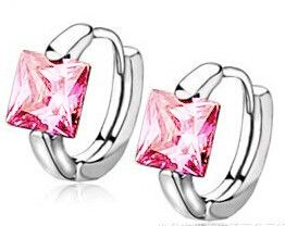 Princess Cut Buckle Earrings in 925 Sterling Silver - 6 color choices