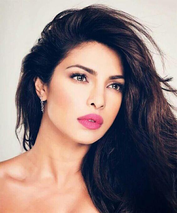 Priyanka Chopra. Love her flawless makeup and a bright pop of lips. Pink lips. Bollywood fashion.: