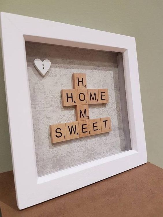 Gorgeous rustic 7 wooden frame with Home Sweet Home design handcrafted using wooden scrabble tiles and beautiful, first edition branded, premium background paper. Each frame is unique and lovingly handcrafted by me. Ideal as a gift for any occasion or of course as a treat for