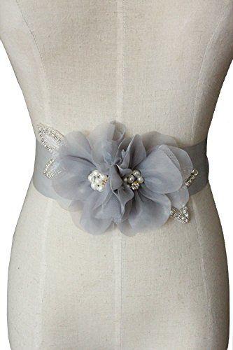 Lemandy ceinture de mariage fleurs perlées A5 (Gris) Lemandy…
