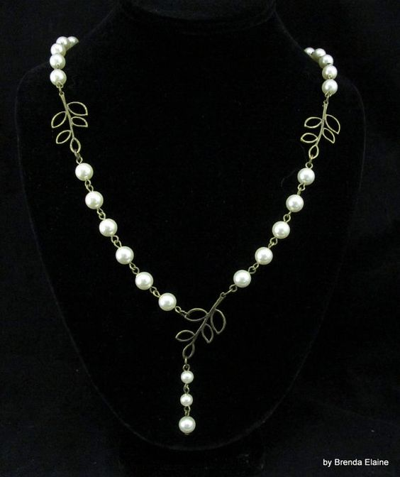 Pearls and Leaves Necklace by byBrendaElaine on Etsy