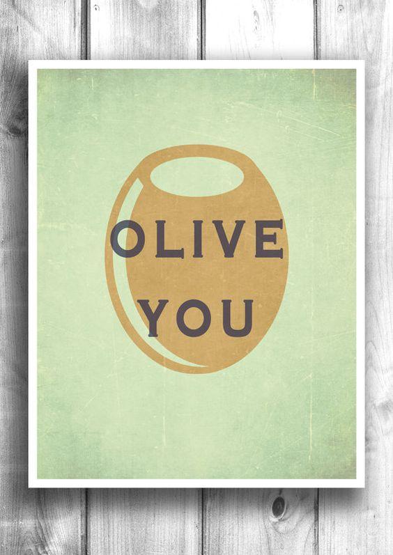 Olive you kitchen art print wall art, bar decor, kitchen decor ...