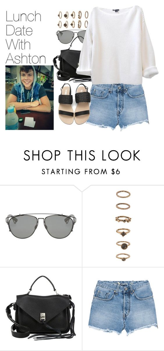 """""""Lunch Date with Ashton"""" by onedirectionimagineoutfits99 ❤ liked on Polyvore featuring Christian Dior, Forever 21, Rebecca Minkoff and M.i.h Jeans"""