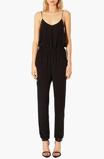 So easy! Topshop Black Silk Jumpsuit | Topshop at Nordstrom ...
