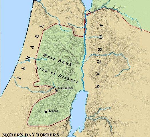 Map of modern day boundaries of Israel and Jordan and more