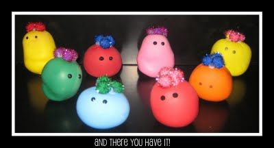 Wacky Sacks - create your own using playdough in balloons