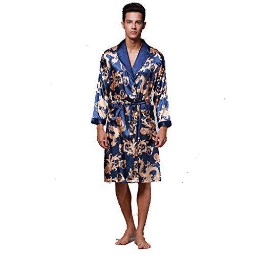 Boyann Robes De Chambre Kimonos Homme Satin Chemises De Nuit Longues Peignoirs De Bain Peignoirs De Bain Vetements