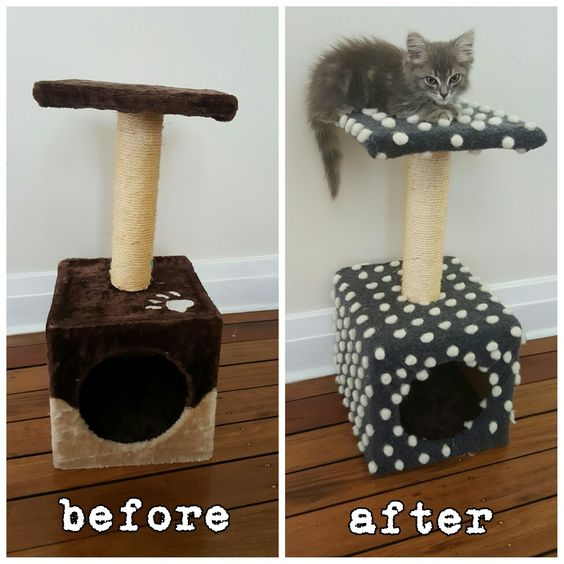 Covered a cat scratching tree with fabric to suit our decor better. DIY CAT POST