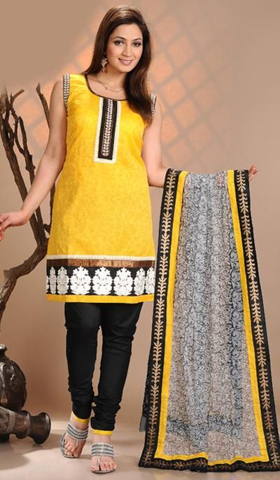 G3 Fashions Yellow Black Cotton Party Wear Designer Salwar Suit  Product Code : G3-LSA104495 Price : INR RS 3768