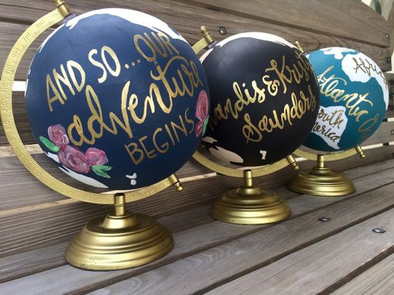 custom hand lettered wedding guestbook globe hochzeit g steb cher und br ute. Black Bedroom Furniture Sets. Home Design Ideas