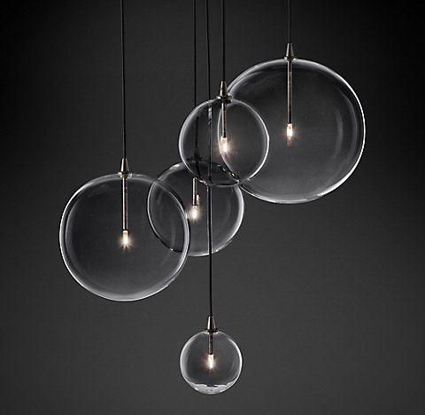 glass globe mobile cluster chandelier