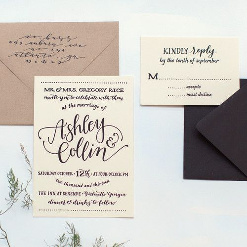 Neutral wedding invitation suite with modern calligraphy + hand lettering {Ashley Buzzy Lettering + Press}