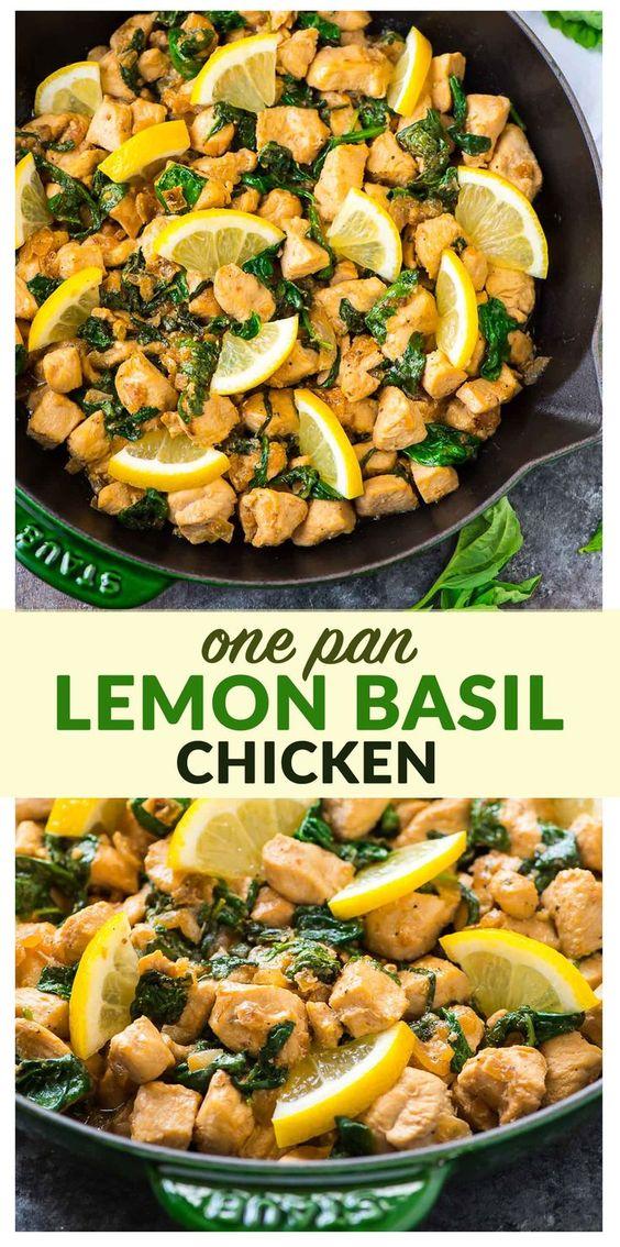 One Pan Lemon Basil Chicken with Spinach Lemon Basil Chicken