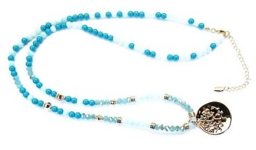 Modeschmuck Online Shop - Kristall- und Glasperlenkette aquamarinfarben-türkies LIZK115