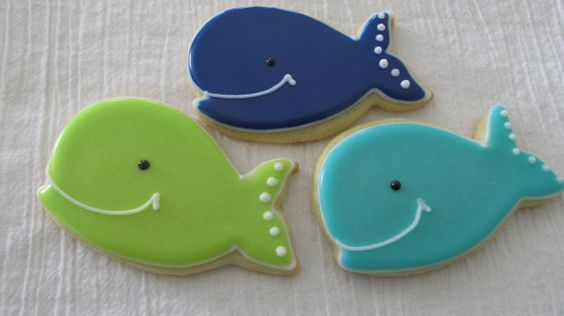 Whale Cookies via TheSweetShopCookieCo on Etsy.