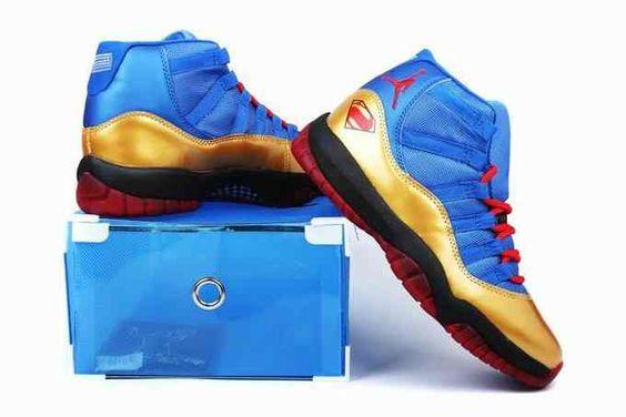 2014 New Release Air Jordan XI 11 Mens Shoes Blue Gold [nike_TWTK2364] - $85…