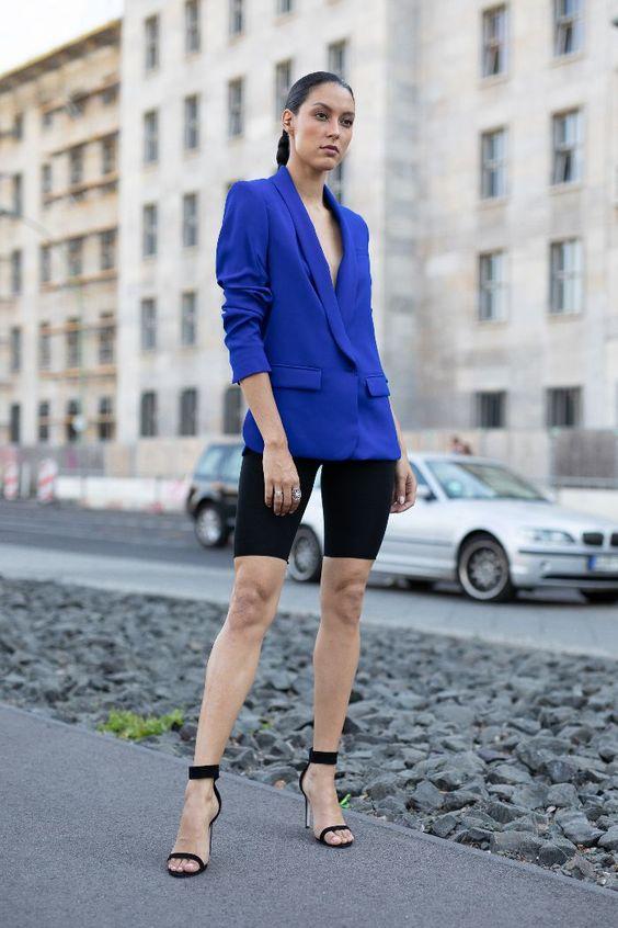 bike shorts outfits bright blazer