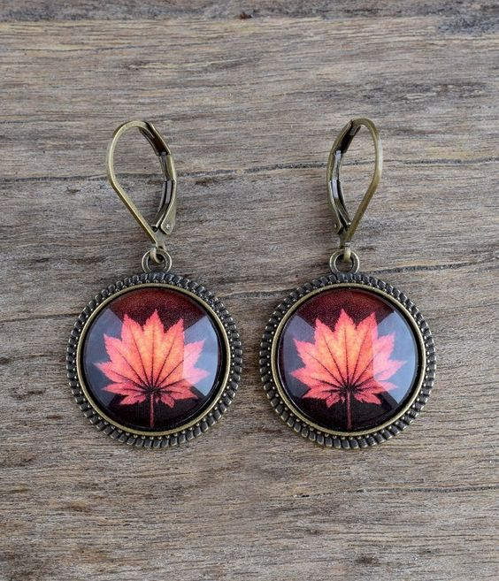 Fall leaf earrings, Maple leaf jewelry, Orange leaf dangle earrings, Autumn earrings, Fall jewelry Nature earrings, Woodland earrings