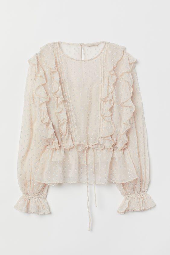 Блузка с оборками - Cветло-бежевый - Женщины | H&M RU 1