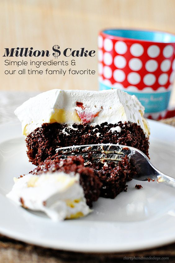 Our family favorite dessert- Million Dollar Cake- requested for every birthday!