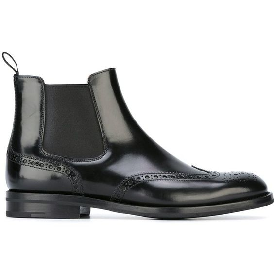 Church's Ketsby Ankle Boot ($490) ❤ liked on Polyvore featuring shoes, boots, ankle booties, black, black bootie, leather chelsea boots, short black boots, black leather boots and black booties