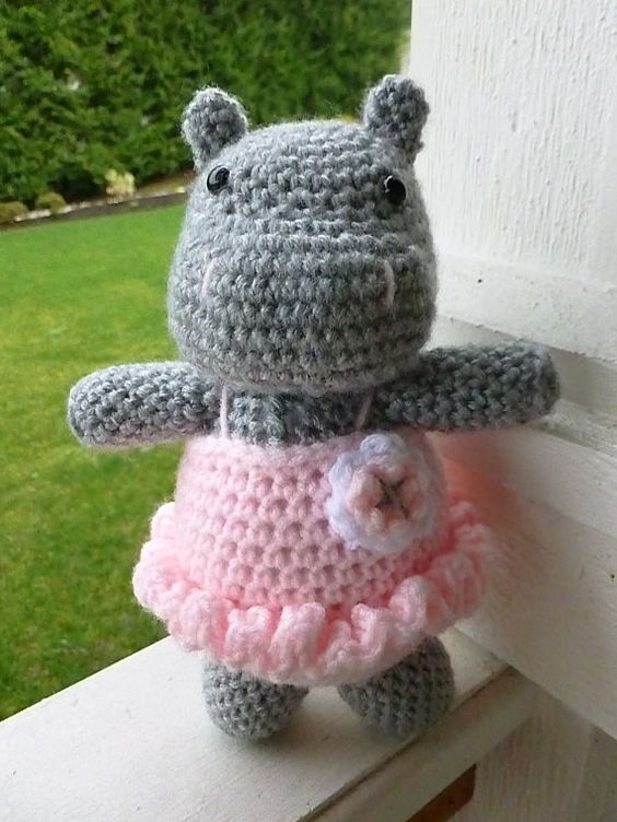 Made to Order-Daisy the Hippo in Tutu Crocheted by CurlyTopCorner