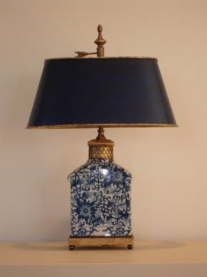 blue and white with brass...: