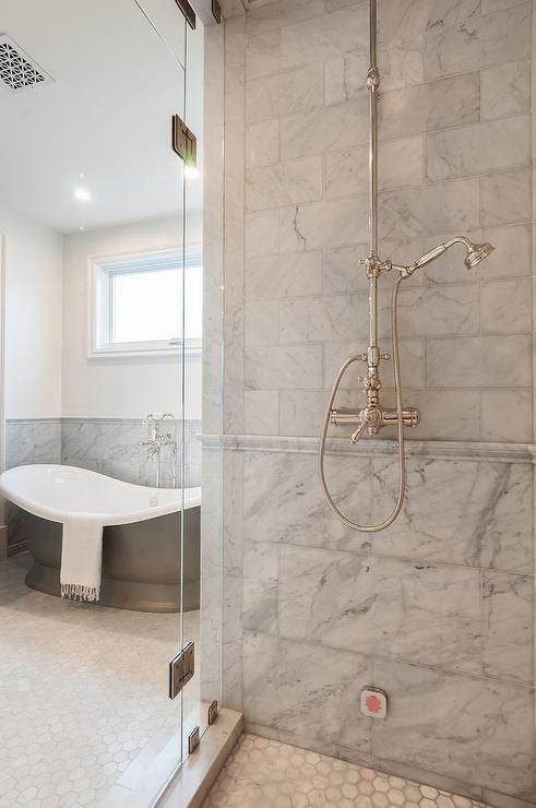 Walk In Shower Featuring Mixed Gray Marble Shower Tiles With Marble Chair Rail T Marble Shower Tile Marble Showers Shower Tile