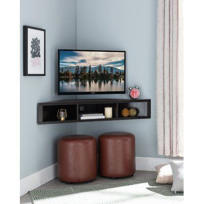 Ebern Designs French Floating Corner Tv Stand For Tvs Up To 55 Wayfair Tv Stand Decor Living Room Corner Tv Stand Corner Tv