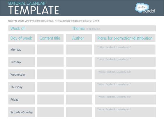 Editorial Calendar  Social MediaBlogging    Template